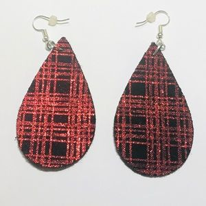 Jewelry - RED AND BLACK PLAID SUEDE EARRINGS